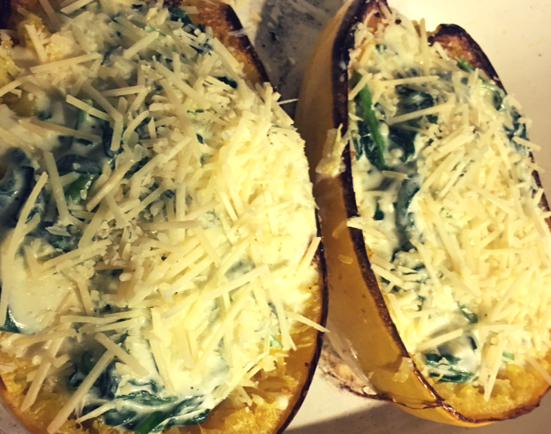 Cheesy Garlic Spaghetti Squash